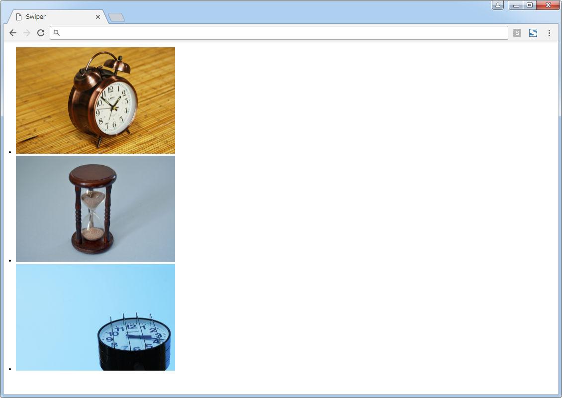 『Swiper』を適用するページのスクリーンショット