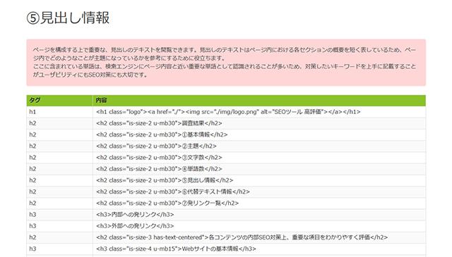 コンテンツSEOチェックツール【高評価】の結果画面5 見出し情報